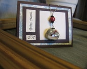 Asian-Inspired Pendant - Handcrafted Sterling and Ceramic Pendant Necklace with Faceted Cherry Quartz