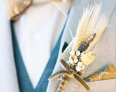 Countryman Wheat Boutonniere - for the groom / groomsman / fathers / special guests - Natural Materials, Handmade to order