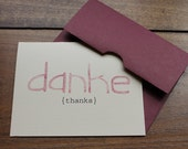 danke watercolor thank you card set in raspberry