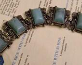 Vintage Chunky Silver Tone Filigree Turquoise Thermoset Rectangular Cabochon Bracelet