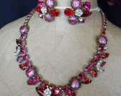 Grand Vintage Pink and Red AB Rhinestone Necklace & Earrings Demi Set