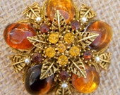 Beautiful Amber Cabochons, Yellow and Amber Rhinestones, Faux Seed Pearl Filigree Leaf Dome Brooch