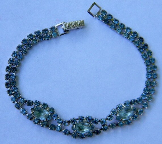 Delicate Vintage Blue Rhinestone Tennis Bracelet with Adorned Snap Closure Clasp