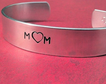 Mom - Custom Bracelet Metal Stamped