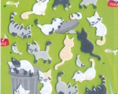 Korean Scrapbook Felt Stickers, Cute kittens in black, white and grey (STSM03013)