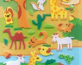 XMAS PROMO Korean Scrapbook Felt Stickers, Sweet animal in the Safari (STSM03011)