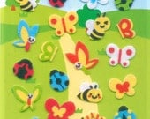 XMAS PROMO Korean Scrapbook Felt Stickers, Colorful Garden Bugs (STSM03014)