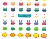 Korean Scrapbook Die-cut Epoxy Stickers, Animal Face v1 (STSM03051)