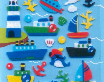 XMAS PROMO Korean Scrapbook Felt Stickers, Fun in the Sea (STSM03002)