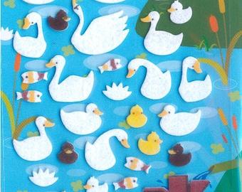 XMAS PROMO Korean Scrapbook Felt Stickers, Elegant Swans and ducklings (STSM03015)