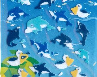 XMAS PROMO Korean Scrapbook Felt Stickers, Cute Marine Creatures (STSM03012)