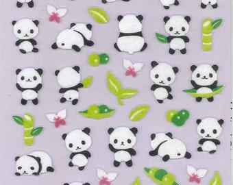 Korean Scrapbook Die-cut Felt Stickers, Cute black and white pandas (STSM03032)