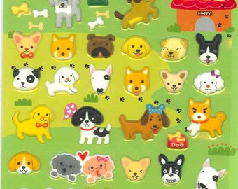 Korean Scrapbook Die-cut Puffy Stickers, Happy Dogs (STPU03002)