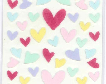 Korean Scrapbook Die-cut Felt Stickers,  Sweet Hearts in spring color (STSM03020)