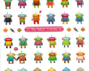 Korean Scrapbook Die-cut Epoxy Stickers - Robot Friends (STSM03053)