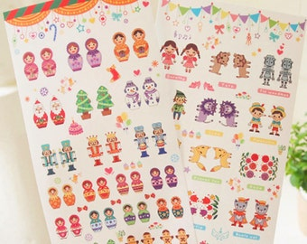 Korean Kawaii Scrapbook index stickers - Matryoshka dolls and Fairy tale characters (2 sticker sheets) (STNO01094)