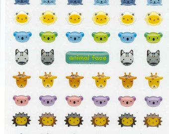 Korean Scrapbook Die-cut Epoxy Stickers, Animal Face v2 (STSM03052)