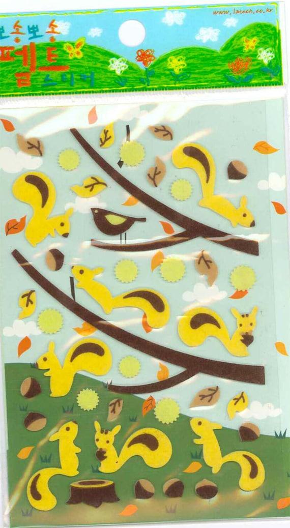 Korean Scrapbook Die-cut Felt Stickers, Cute Squirrels and birdie on the branches (STSM03027)