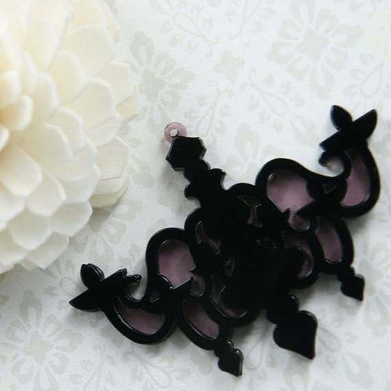 Acrylic Charm, Elegant Chandelier, Black, 1pc (CHAC23003)