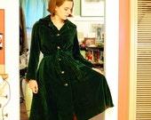 Early 1970's emerald green velvet I. Magnin coat