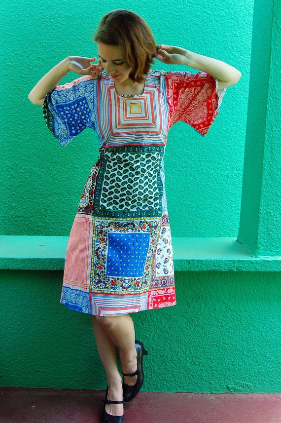 Early 1970s bell-sleeved patchwork print hippie dress