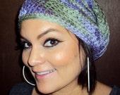 Unisex Purple & Green Crochet Adult Slouchy Hat - Medium/Large