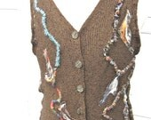 Tailored RAYON KNIT VEST,  Burnt Sienna Brown, Funky Fun Arty Boho Style
