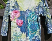 ARTY TATTERED TEE V-Neck, Upcycled, Pink Floral Accents on Bright Blue and Green, Shabby Chic, Wise Mark Twain Quote, Medium Soft Eco-Cotton