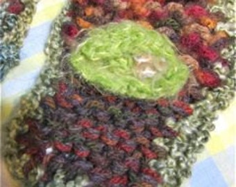 """SALE: VIBRANT Skinny Scarf, Hand-knittted, Hand-Crocheted, Baroque, Chunky Texture, Dreaming of Spring""""  Eco-friendly"""