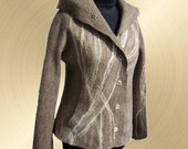 Gold River Jacket Wool Handmade Wet Felting Seamless Brown Gold Natural Earth