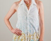 Shirred Back Halter Top from Recycled Menswear Shirt- Made to Order