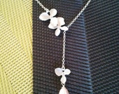 Orchids wedding Necklace, Flowers Pendant, necklace, charm, wedding necklace, bridal gift, Lariat, christmas gift, cocktail jewelry