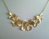 Orchids wedding Necklace, Flowers Pendant, charm, gift for her, bridal gift, Lariat, Bib, Statement necklace, rose gold orchid