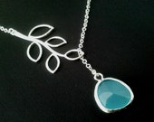 Personalized Jewelry,Branch with Mint Blue Pendant Necklace, Lariat  Birthstone necklace, statement necklace, Bridesmaid Bridal GIFT