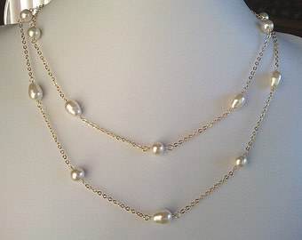 Pearl Long necklace, Teardrops & Round Swarovski Pearls Pendant Necklace, statement necklace, wedding necklace, Beadwork necklace, GIFT