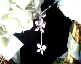 Dangling Triple Orchids Flowers Lariat Necklace -wedding jewelry