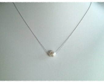 15% SALE!! White Pearl Wedding Necklace, Pearl Pendant Necklace, Bridesmaid Gift ,Bridal Jewelry, Statement, Christmas GIFT