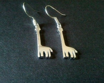 Giraffe Silver Earrings,Drop, Dangle, bridesmaid gifts,Wedding jewelry