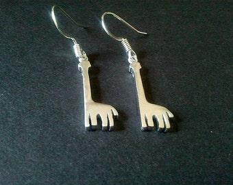 Giraffe Silver Earrings,Drop, Dangle, bridesmaid gifts,Wedding jewelry
