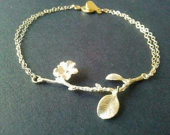 Flower with branch Gold Bracelet - Bangle Bracelet,Friendship bracelet, Charm Bracelet, wedding bracelet, brides maid gifts