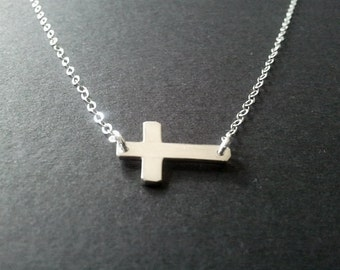 Cross Necklace, Sideways Cross, Silver Cross necklace, Sterling Silver Pendant Necklace, Bridemaids Gift