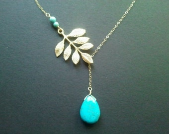 Turquoise, Multi Leaves with Turquoise Gold Lariat Necklace, Pendent necklace,bridal gift, wedding jewerly,Mother's Day Gift