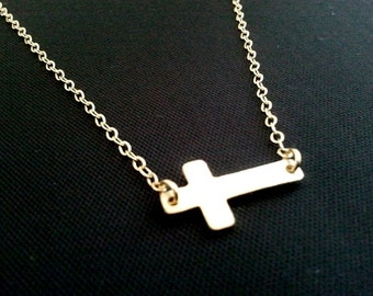 Sideways Cross Necklace,14K Gold Filled Chain, cross pendant, cross charm, christmas gift, cocktail jewelry
