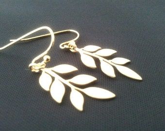Cute leaves Gold earrings, dangle, glass, drop,Lovely Gift,Wedding jewelry