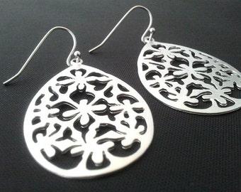 Oriental Flower patten Earrings,Drop, Dangle, bridesmaid gifts,Wedding jewelry,christmas gift, cocktail jewelry