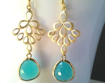 Turquoise Chandelier Earrings, mint blue Drop, Dangle, Glass Earrings, gemstone, bridesmaid gifts,Wedding jewelry, bridesmaid jewelry