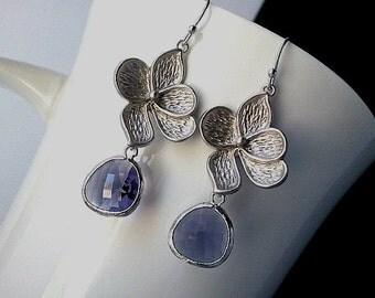 Veronica with Amethyst Purple Silver Earrings, Drop, Dangle, Glass Earrings, bridesmaid gifts,Wedding jewelry
