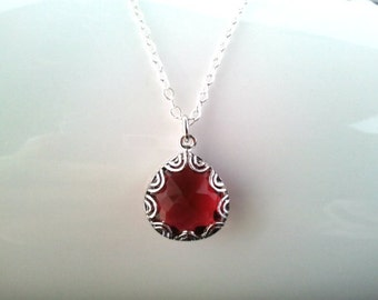Lovers Point Ruby Red Silver Necklace - Gemstone Necklace - bridesmaid gifts,Wedding jewelry, Christmas Necklace,  cocktail jewelry