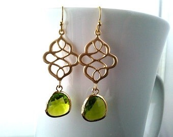 Gold Peridot Earrings Royal Chandelier earrings,Drop, Dangle, Glass Earrings, bridesmaid gifts,Wedding jewelry,Christmas Gift