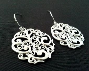 Oriental Drop Silver Earrings, Dangle, Earrings,bridesmaid Bridal Wedding jewelry,christmasGIFT, cocktail jewelry
